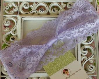 NEW ITEM----Boutique INTERCHANGABLE 2 inch Lace Girl Headband---Lavender