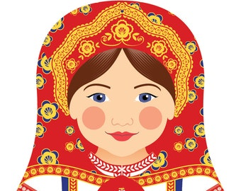 Russian Wall Art Print features culturally traditional dress drawn in a Russian matryoshka nesting doll shape