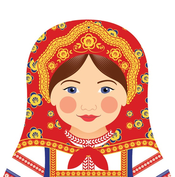 Russian Doll Art Print with traditional folk dress, matryoshka