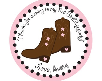 Birthday, Cowboy, Western party, Personalized Stickers,Children, Party, Favor stickers,Labels,Sticker Labels Set of 60
