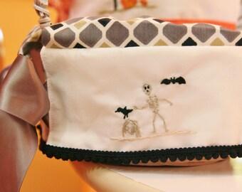 CUSTOM Halloween Treat Basket hand embroidered liner gravestone, skeleton and bat 9 inch basket