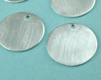 Sterling Silver Satin Blank LARGE Tags Stamps Discs, 13.5mm, 1.3mm hole 24g- 4pcs