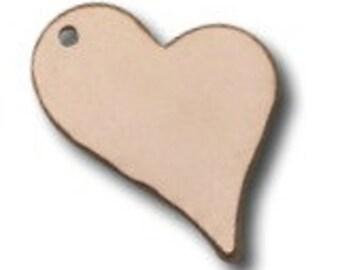 14k Rose Gold LARGE Heart Blank, 10 pcs,  Disc Tag Stamping Charm 13.3x16.2mm - 24ga