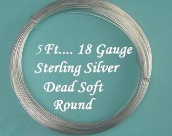 18 gauge g ga, 5 Ft Sterling Silver Dead Soft Wire