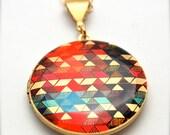 """Locket Necklace Alyson Fox Original Artwork """"Color Study II"""""""