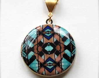 Locket Necklace Jewelry Turquoise Gold Alyson Fox Original Artwork Unique Art Gift for Her Geometric Design Long Necklace Vintage Lockets