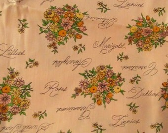 """Vintage Fabric 1 2/3 yards long x 44"""" wide floral chintz SALE"""