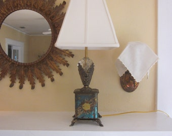 Regal Banner Repurposed Tin Can Lamp with Faceted Crystal
