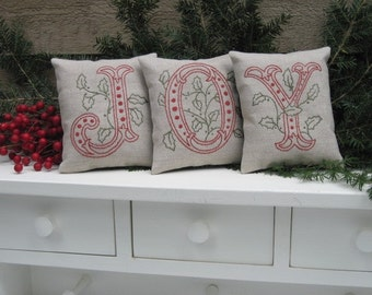 "JOY"" Shelf Pillows/ Christmas Mantle Decor /Hand embroidered on linen"