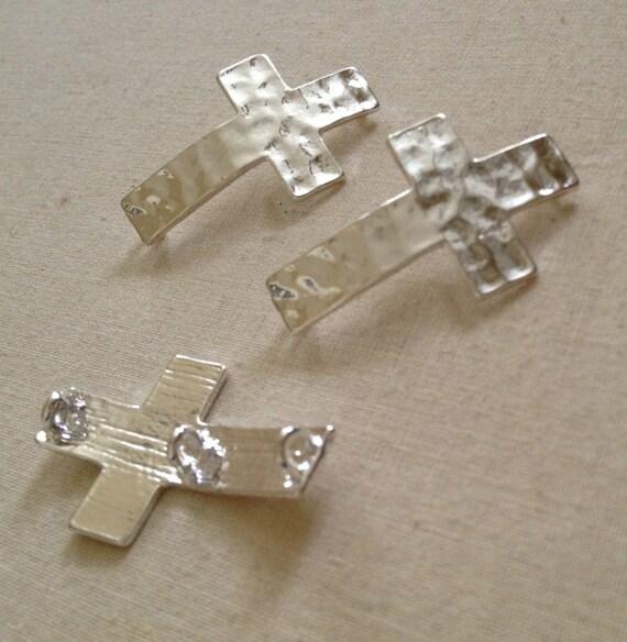 Pcs silver sideways cross connector pendant link charm