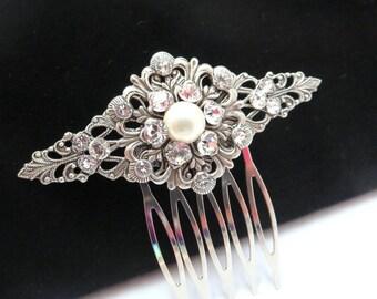 Vintage style bridal hair comb, Wedding hair comb, Rhinestone hair comb, Antique silver hair clip, Swarovski hair clip, Bridal hair pin