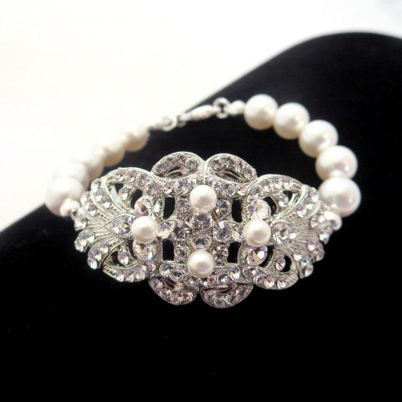 Rhinestone and pearl bracelet, bridal bracelet, Swarovski crystal bracelet, wedding jewelry, wedding bracelet