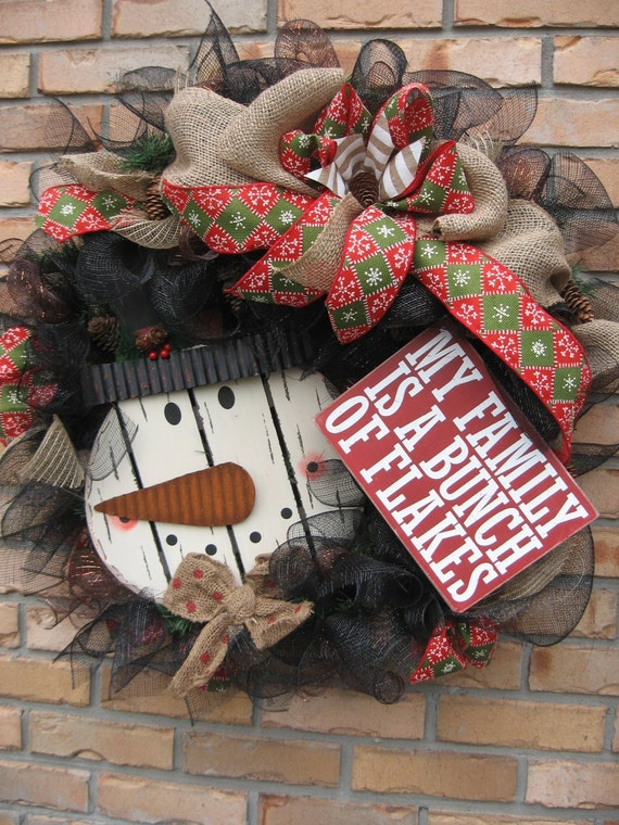 Family of flakes snowman wreath sign on black deco mesh for Burlap snowman wreath