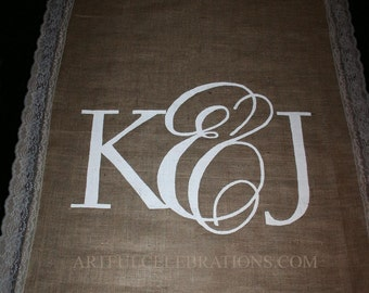 "Burlap Aisle Runner DEPOSIT, 4"" Lace sides and Custom Hand Painted Monogram"