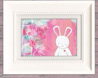 Bunny Art, Children's Art Print, Art for Kids, Nursery Art, Art for a Girls Room, New Baby Gift- 'Evie's Daydream' by Emma Talbot