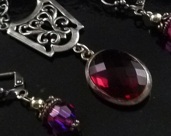 Don't Miss This Raspberry Topaz Dracula Gemstone Necklace Set - Free U.S. Shipping
