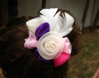 Bridal hair flowers feathers  bouquet for your hair bun,fascinator, floral crown, wedding accessories