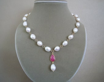 Alexandria -- One of a Kind -- Baroque Pearl and Ruby Gemstone Connector Necklace