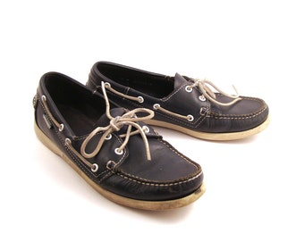 Boat Shoes Vintage 1990s Sebago Blue Leather Women's 10 M