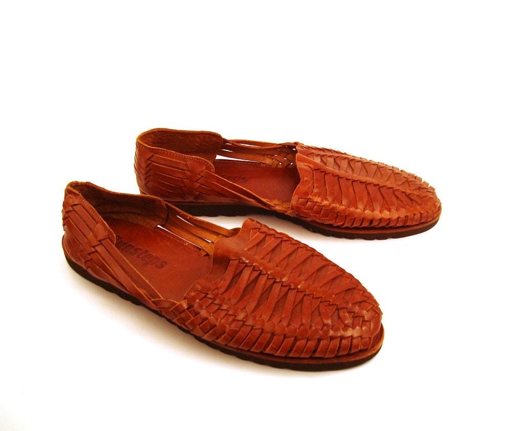 Mens Huarache Sandals Vintage 1980s Sunsteps Woven Leather
