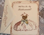 Will You Be My Bridesmaid Card Vintage Wedding