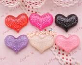 22mm Glitter Heart Shaped Resin Cabochon - 12pcs