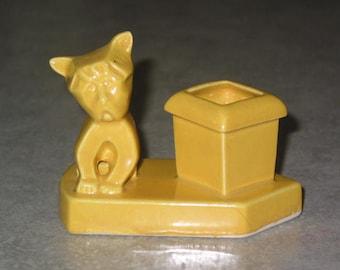 Art Deco sunshine yellow scotty dog American pottery Match safe Toothpick holder