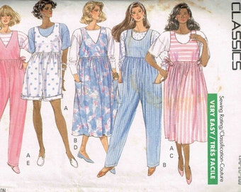 Maternity Romper Top Jumpsuit and Jumper Dress Butterick 3962 Sewing Pattern Size 14, 16 18  Bust 36 38, 40