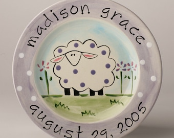 birth gift, baby gift, first birthday personalized hand painted baby sheep birth plate