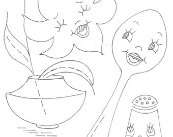 Hand Embroidery Pattern 7391 Animated dishes & flowers 1950s PDF instant Download