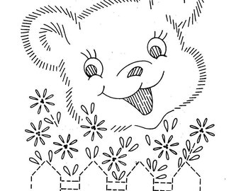 Hand Embroidery Quilt PATTERN Design 797 Animals behind a fence for a Baby Quilt 1960s