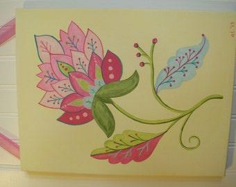 "girl kid room decor..baby nursery wall art..original canvas painting..hand painted artwork..11 x 14 floral scrolls berries ""summer flower 2"""