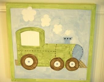 Train canvas painting 12 x 12 Original Green blue locomotive Boy room decor Baby shower nursery Children wall art Kid bedroom Transportation