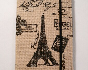 Kindle cover Hardcover, Kindle Paperwhite Cover, iPad Mini, Nook Tablet Cover, Burlap Fabric , Paris