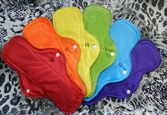Rainbow Minky Heavy Flow Cloth Menstrual Pad Set