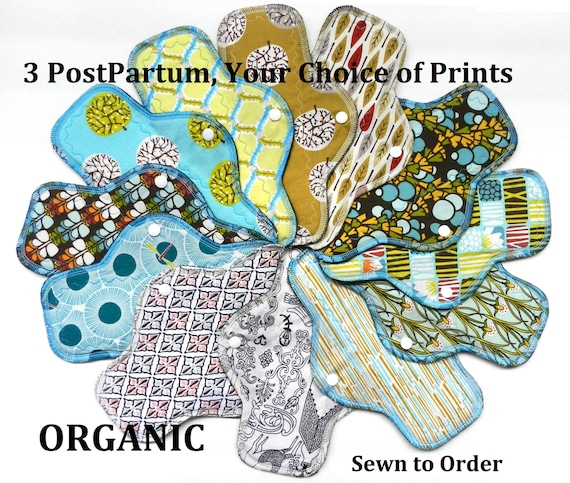 Set of 3 ORGANIC Cotton PostPartum Pads-Choose Your Prints!