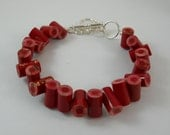 Colored Pencil, Beaded Bracelet, Jewelry, Charm Bracelet, Upcycled, Teacher, Artist, Gift, Recycled, Editor, Red