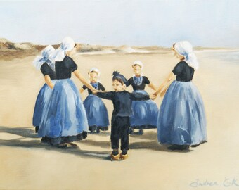 children dancing on the beach, giclee art print