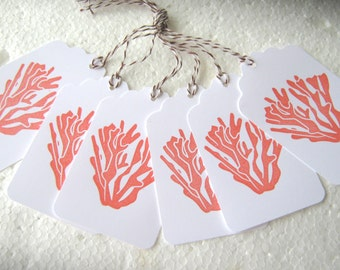 Coral Beach Wedding Gift Tags
