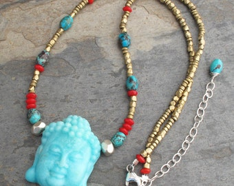 Amazonite Turquoise Thai Silver Brass Necklace - Blue Buddha