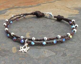 Waxed Irish Linen Swarovski Crystal Sterling Silver  Bracelet - Tiny Lotus