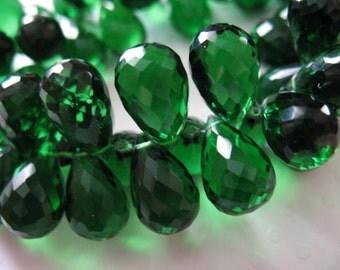 Shop Sale..  2 5 10 pcs, Emerald Green QUARTZ Briolettes Beads Tear Drops Teardrops, 13-14 mm, May October Giant  hydqtz74 bsc
