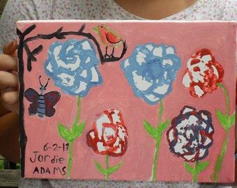 OOAK/Acrylic painting childs room/ nursery/ butterfly/ flowers/ bird/ by jordie.