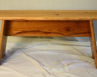 Slant Leg Solid Red Oak Bench