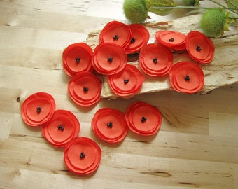Handmade fabric appliques, sew on flower embellishments, fabric flowers for crafts, bouquet supplies (15 pcs)- TANGERINE ORANGE POPPIES