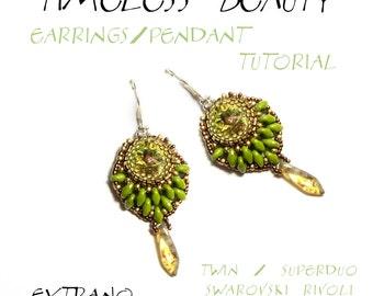 TUTORIAL - earrings / pendant Twin Superduo Rivoli - TIMELESS BEAUTY - immediate download