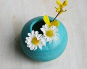 Small Round Turquoise Vase - Handmade Ceramic Vase Wheel Thrown Decorative Pottery Ready to Ship Made in USA - sheilasart