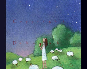 The Cool Hours of  Early  Morning  a tiny Sheep summer stars PRINT from the original aceo