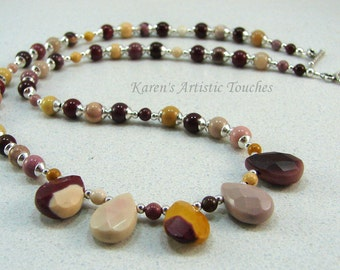 Mookaite Gemstone Silver Teardrop Beaded Necklace OOAK