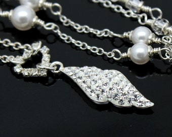 Very Sparkle Bridal Necklace Rhinestones Swarovski Crystals White Pearls Sterling Silver  White Pearls Clear Crystals Necklace
